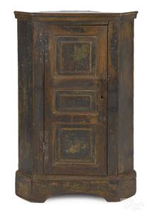 Southern hard pine diminutive corner cupboard