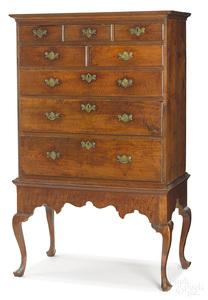 Pennsylvania Queen Anne walnut chest on frame