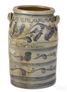 Rare Pennsylvania eight-gallon stoneware crock