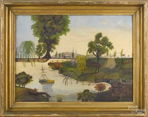 American oil on canvas primitive river landscape