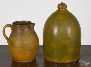 Redware jug and pitcher