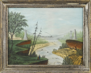 American primitive pastel and pencil landscape