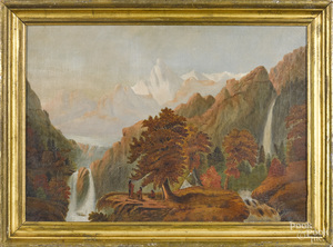American oil on canvas mountain landscape
