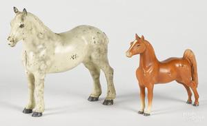 Two Hubley cast iron horse doorstops