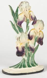 Hubley cast iron purple irises doorstop