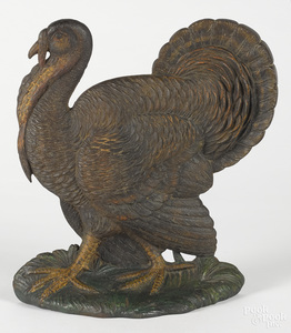 Bradley and Hubbard cast iron wild turkey doorstop