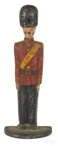 Cast iron British soldier at attention doorstop