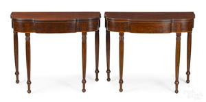Pair of Philadelphia Sheraton mahogany card tables