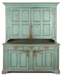 Pennsylvania painted pine two-part Dutch cupboard