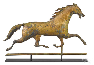 Swell bodied copper running horse weathervane