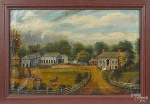 American oil on canvas farmscene