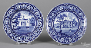 Historical blue Staffordshire plate and soup bowl
