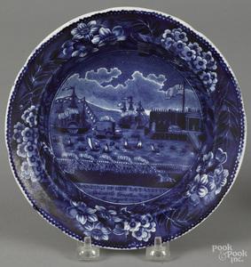 Historical blue Staffordshire shallow bowl