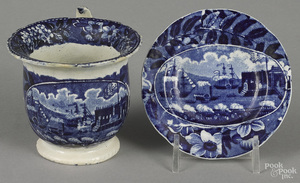 Historical blue Staffordshire cup plate and cup