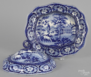 Historical blue Staffordshire covered vegetable