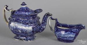 Historical blue Staffordshire teapot & gravy boat