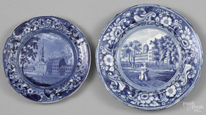 Two Historical blue Staffordshire plates
