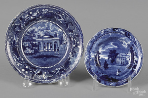 Two Historical blue Staffordshire cup plates