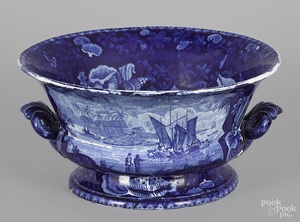 Historical blue Staffordshire fruit bowl