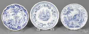 Three Historical Staffordshire cup plates