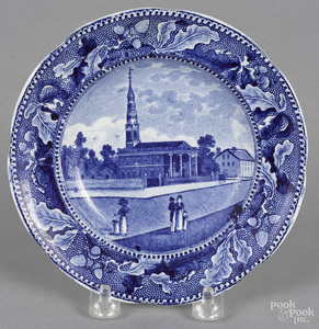 Historical blue Staffordshire toddy plate