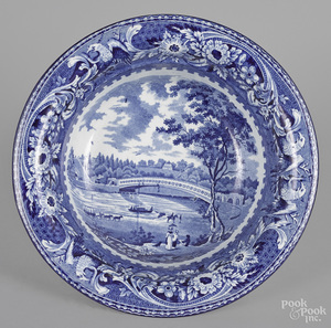 Historical blue Staffordshire wash bowl