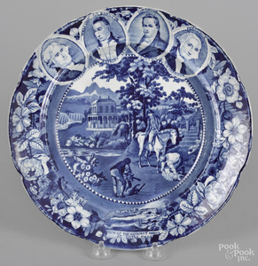 Historical blue Staffordshire Niagara plate