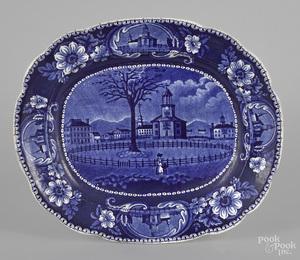 Historical blue Staffordshire platter