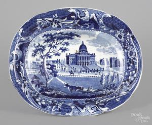 Historical blue Staffordshire fruit bowl