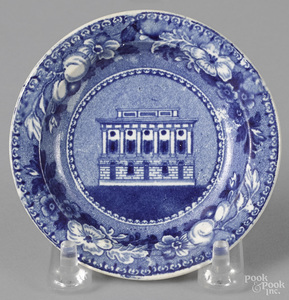 Historical blue Staffordshire cup plate