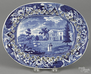 Historical blue Staffordshire undertray
