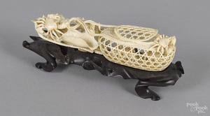 Chinese carved ivory crab basket