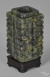 Chinese carved spinach jade tower