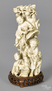 Chinese carved ivory figural group