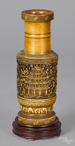 Chinese carved bamboo vase