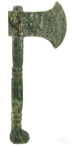 Chinese carved spinach jade hatchet