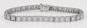 Platinum diamond block bracelet