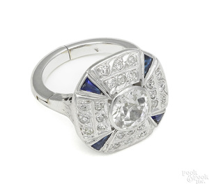 Platinum diamond and sapphire Art Deco ring