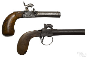 Two Belgian percussion single shot pistols