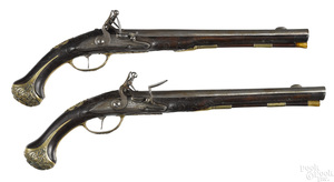 Matched pair of German flintlock horse pistols