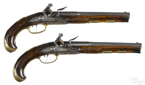 Matched pair of flintlock dueling pistols