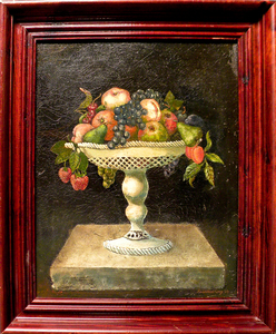 Oil on canvas still life of a compote of fruit, s