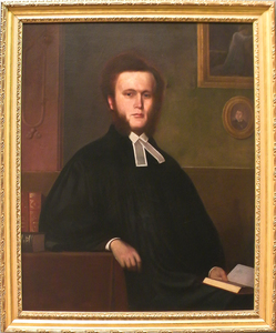 American oil on canvas portrait of a clergyman, m