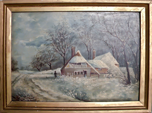Oil on board winter landscape with a cottage, lat
