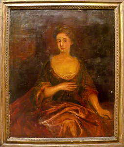 English oil on canvas portrait of a woman, 18th c