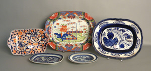 Three export platters, together with a pearlware