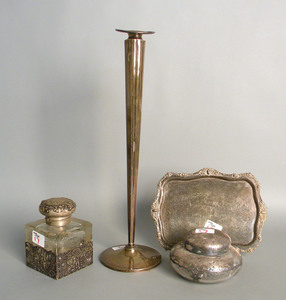 Sterling silver tray, together with a bud vase, 1