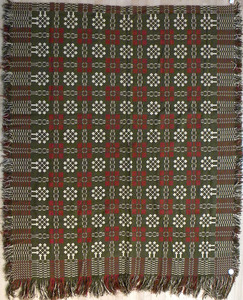 Green and red coverlet, ca. 1840, together with a