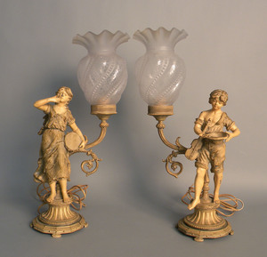 Pair of painted white metal table lamps, ca. 1900