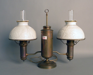 Two brass double arm student lamps, 20 1/2